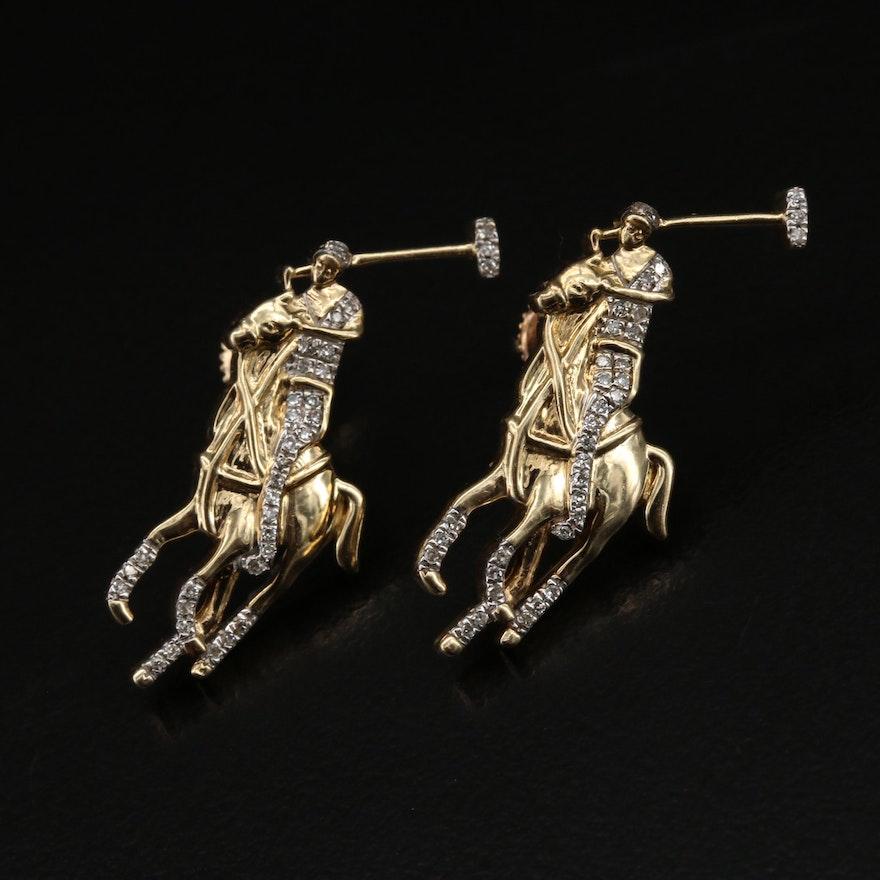 10K Diamond Polo Player Earrings