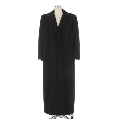 Black Wool Single-Breasted Button-Front Full-Length Coat