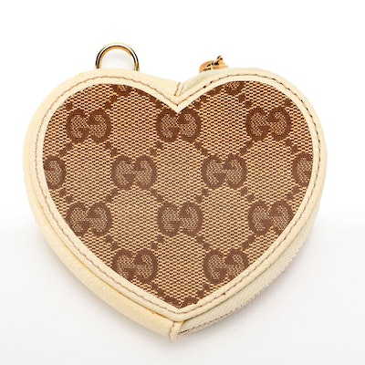 Gucci Heart Coin Purse in GG Canvas with Leather Trim