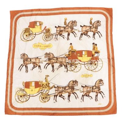 """Hermès """"Coach and Saddle"""" Silk Twill Scarf"""
