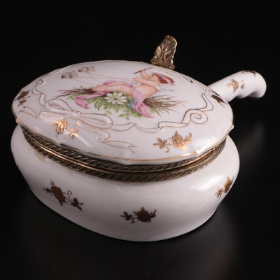 Cherub with Butterfly Chariot Motif Porcelain Silent Butler