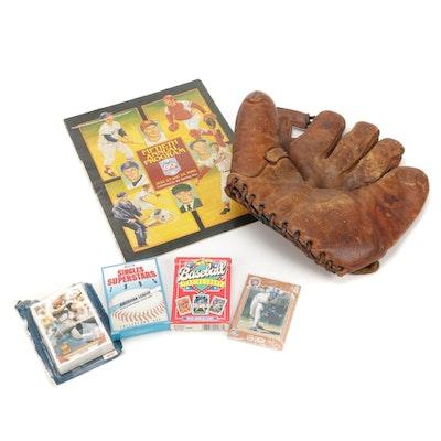 Baseball Trading Cards, Wilson Leather Glove and 50th Anniversary HOF Program