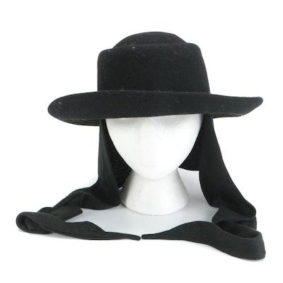 Street Smart by Betmar Black Wool Felt Scarf Hat