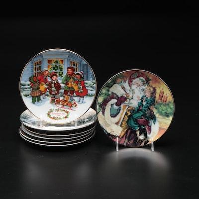 Avon Porcelain Christmas Plates 1987, '88, '90, '91, '94, '95, Et Al.