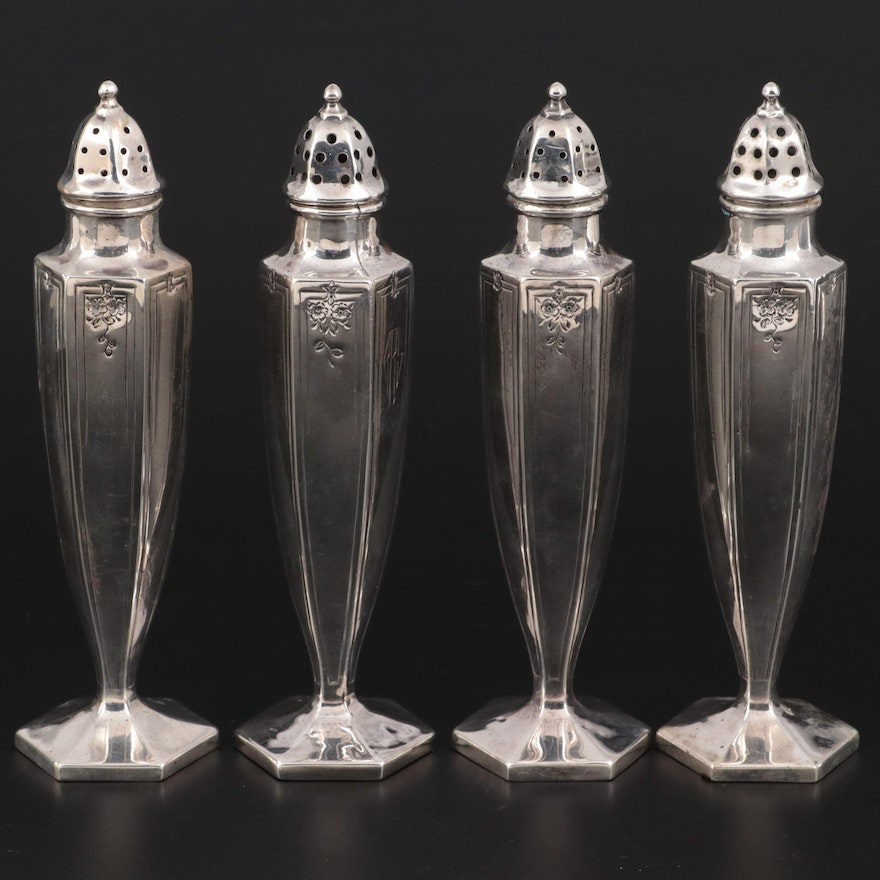 International Silver and Other Sterling Silver Shakers, Mid-20th Century