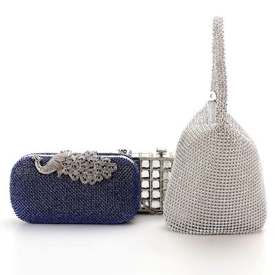 Adrienne Rhinestone Peacock Clasp Clutch, Embellished Minaudière and More