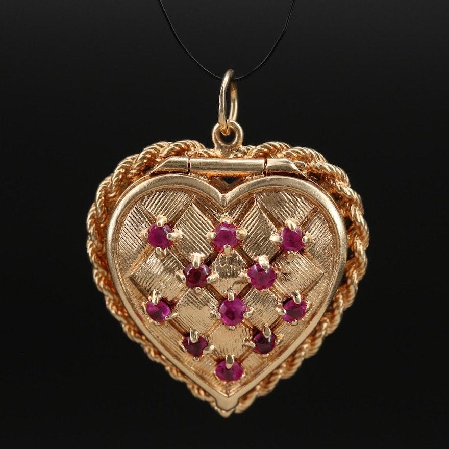 Vintage 14K Ruby Quilted Heart Locket
