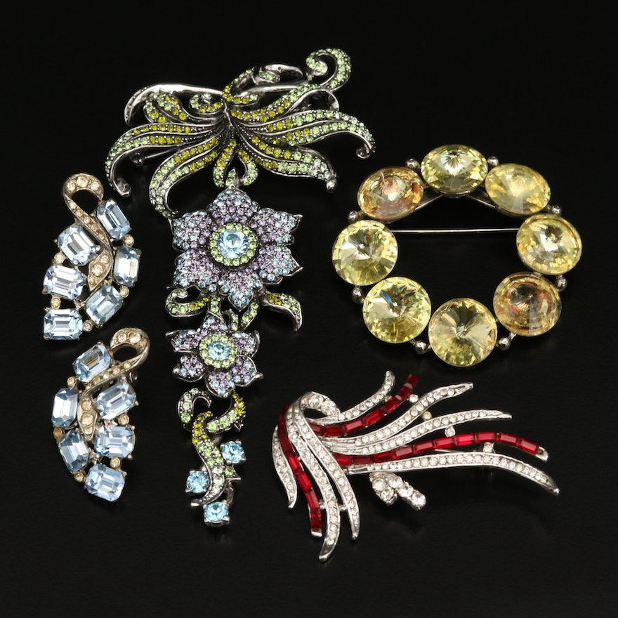 Clip Earrings and Rhinestone Brooches Including Carolee Limited Edition