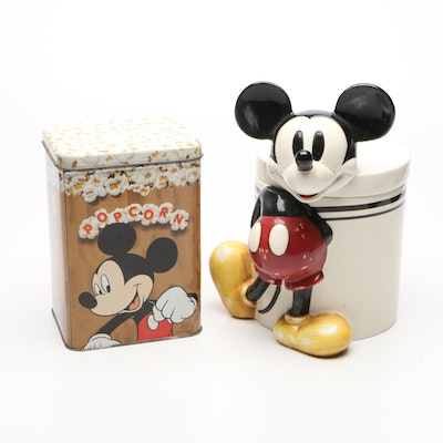 Disney Mickey Mouse Cookie Jar and Popcorn Tin