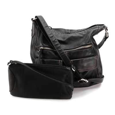Fossil Crossbody and Shoulder Bag in Black Leather with Contrast Stitching