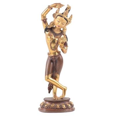Sino-Tibetan Gilt and Patinated Bronze Vajrayogini Statuette