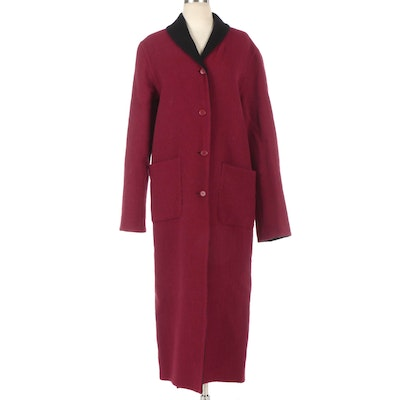 Beyond Threads Reversible Long Overcoat in Black and Red Felted Fabric