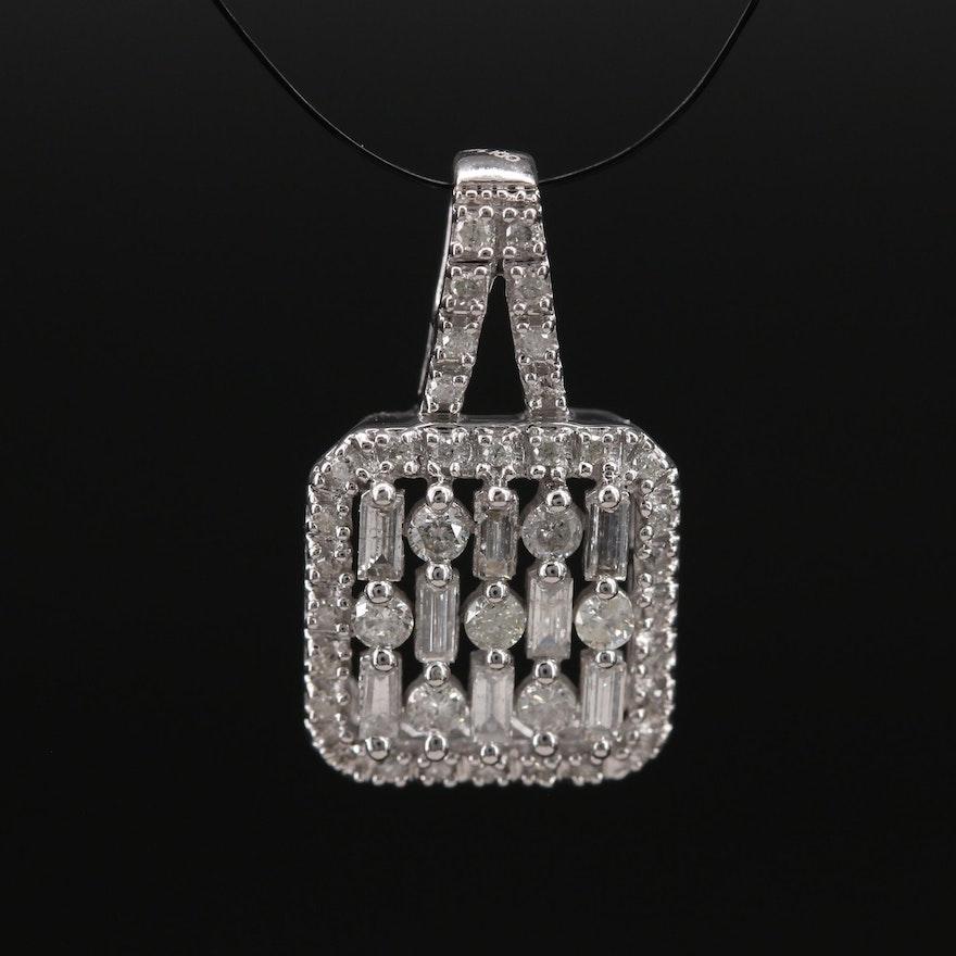 14K Diamond Square Pendant