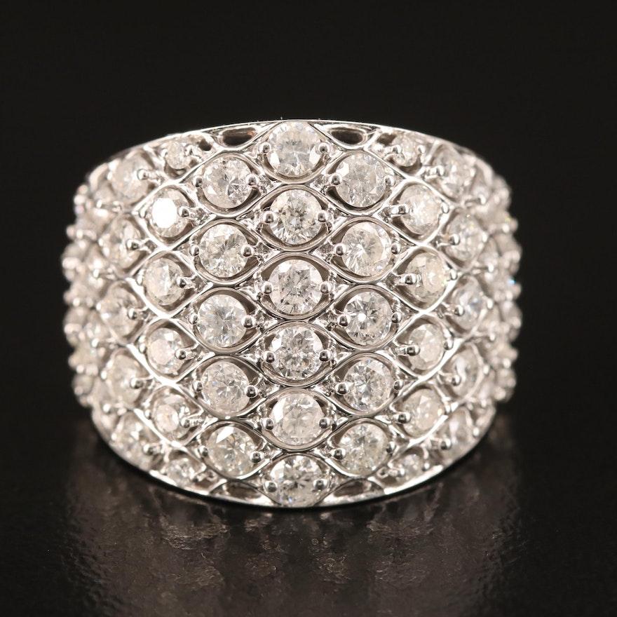 14K 2.57 CTW Diamond Multi-Row Ring