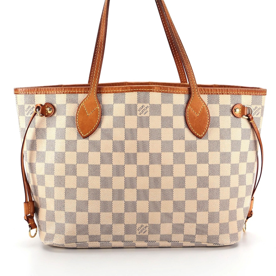 Louis Vuitton Neverfull PM in Damier Azur Canvas and Vachetta Leather