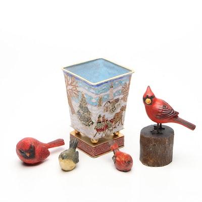 Enamel Decorated Christmas Vase with Cardinal Bird Figurines