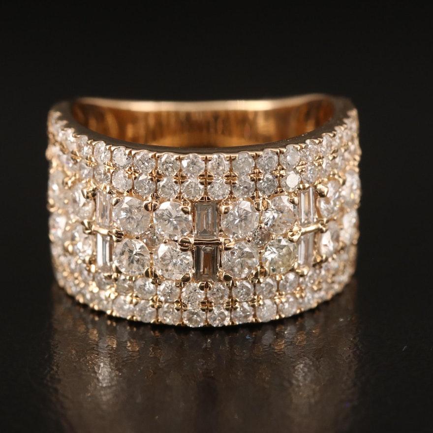 14K 2.55 CTW Diamond Multi-Row Ring
