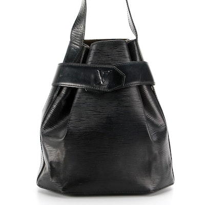 Louis Vuitton Sac D'Epaule PM Shoulder Bag in Black Epi and Smooth Leather