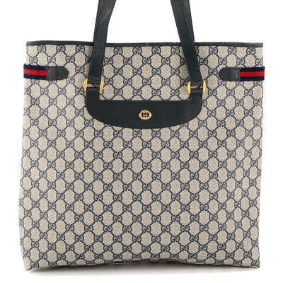 Gucci Accessory Collection Navy GG Supreme Canvas Tote with Leather and Web Trim