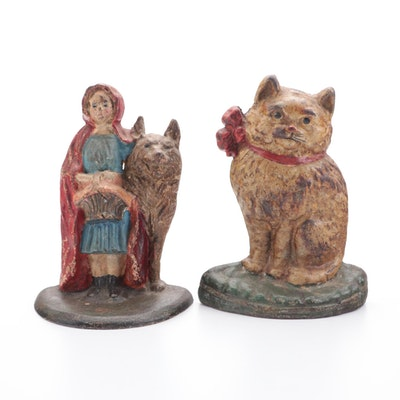 National Foundry's  Little Red Riding Hood #94 with Kitten Cast Iron Doorstops