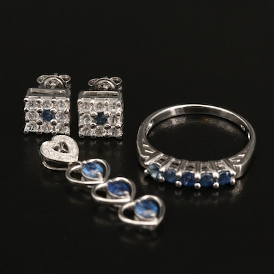 Sterling Silver Sapphire and White Zircon Stud Earrings, Ring and Pendant