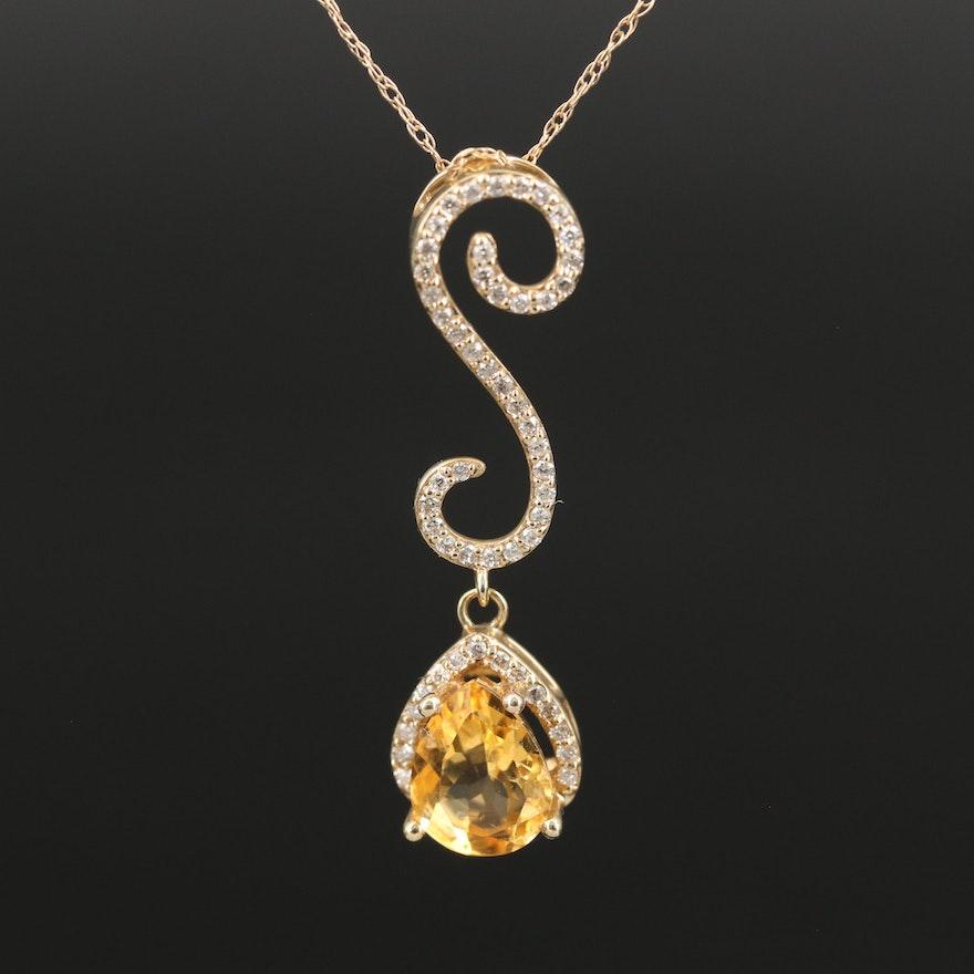 14K Citrine and Diamond Drop Pendant Necklace