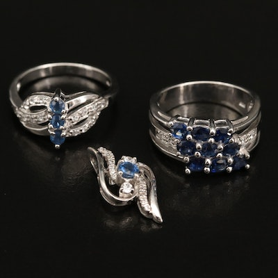 Sterling Silver Sapphire and White Zircon Rings and Pendant