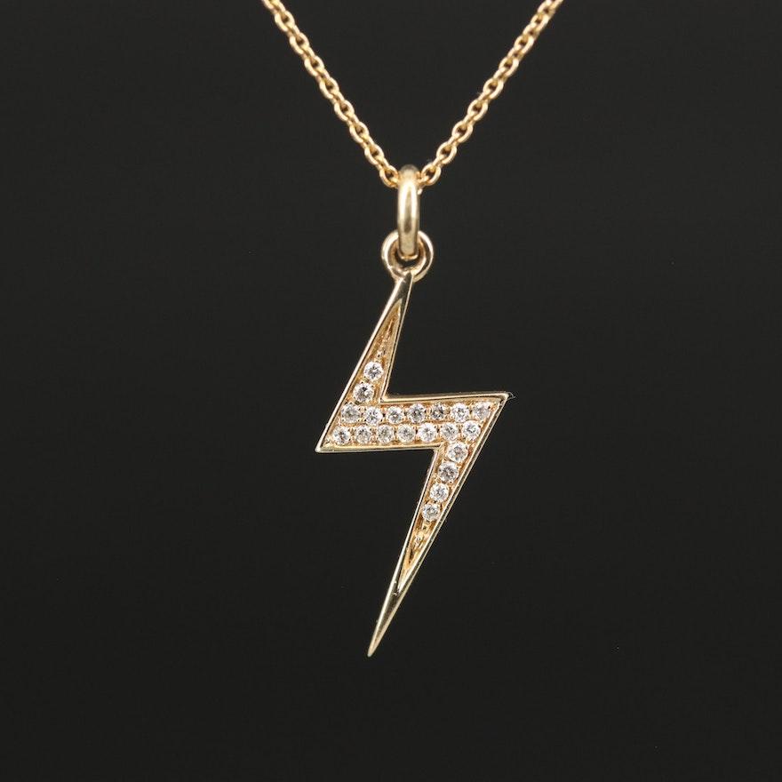 14K Diamond Lightning Bolt Necklace