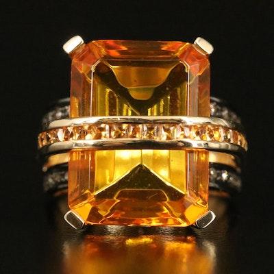 14K Glass, Diamond and Citrine Ring