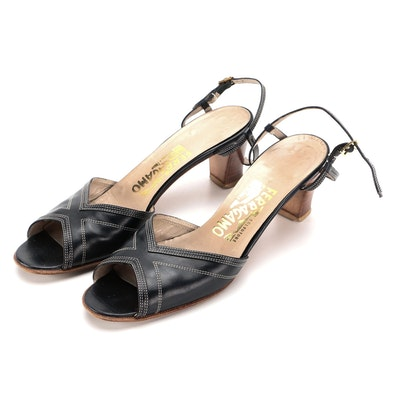 Salvatore Ferragamo Stacked Heel Sandals in Navy Leather with Contrast Stitching