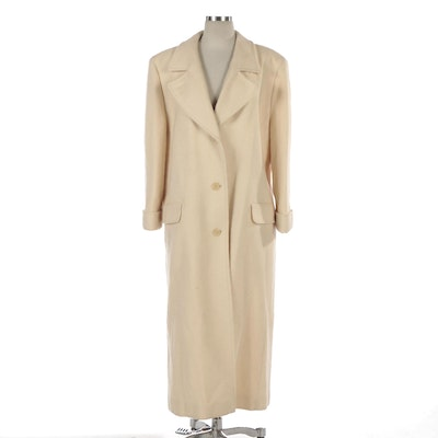 Pendleton Ivory Wool Button-Front Full Length Coat