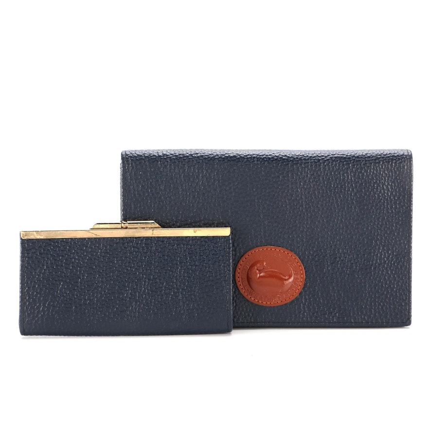Dooney & Bourke Foldover Clutch with Coin Pouch in Blue Pebbled Leather