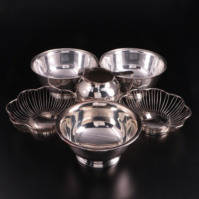 """Gorham """"Paul Revere"""" Bowl with Other Silver Plate Serveware"""