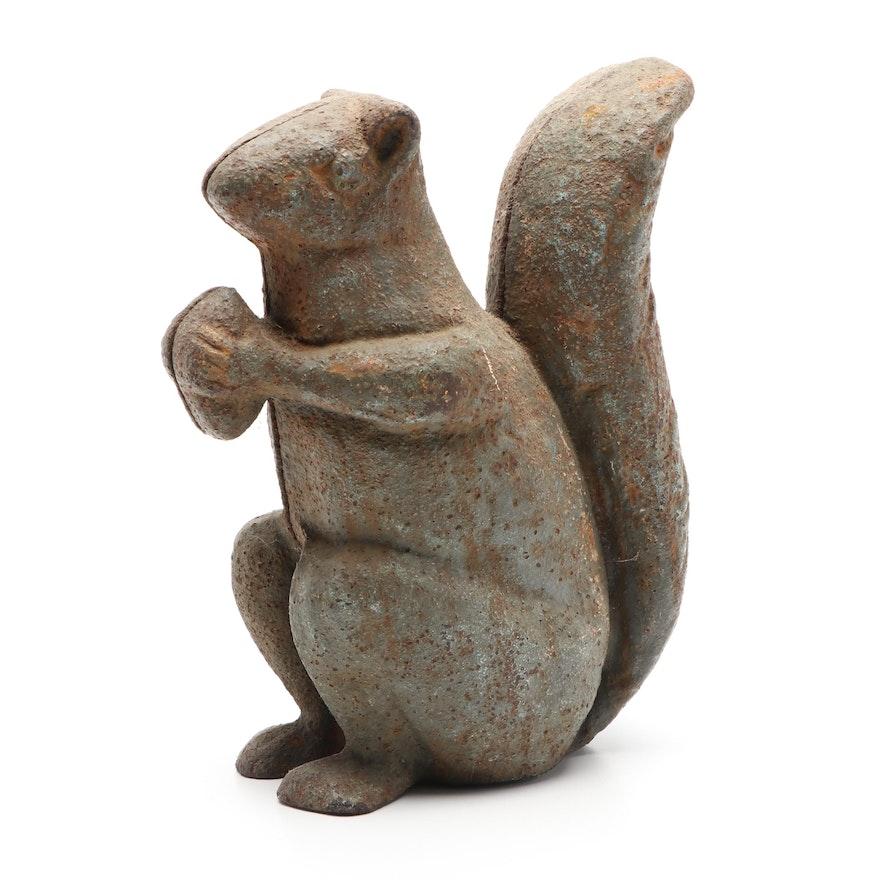 Cast Iron Squirrel with Nut Doorstop