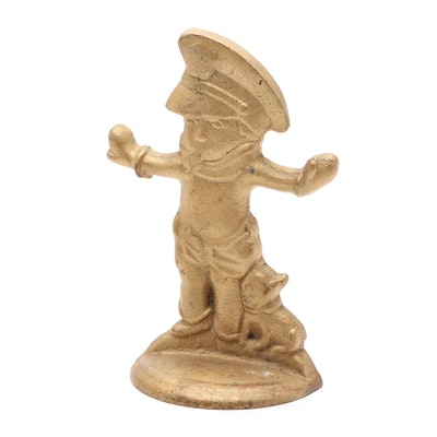 Hubley Style Gold-Painted Cast Iron Police Boy with Dog Doorstop