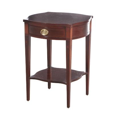 "Baker ""Historic Charleston Reproductions"" Mahogany Inlaid Two-Tier Side Table"