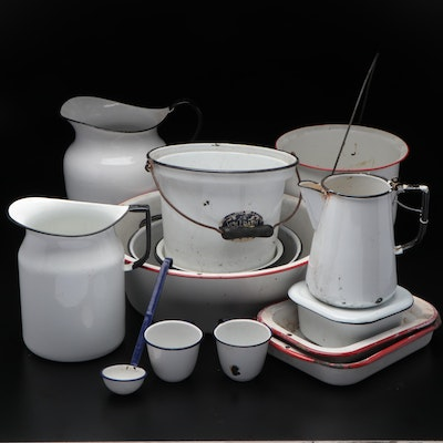 Enamelware Pitchers and Bowls with Cookware