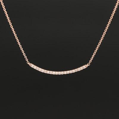 14K Diamond Bar Pendant Necklace