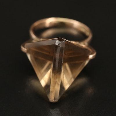 1970s 14K Smoky Quartz Geometric Ring