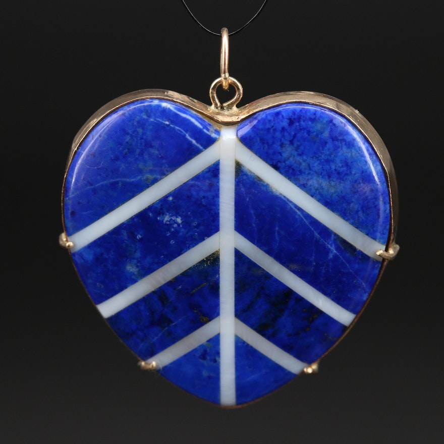 14K Inlaid Lapis Lazuli and Mother of Pearl Heart Pendant
