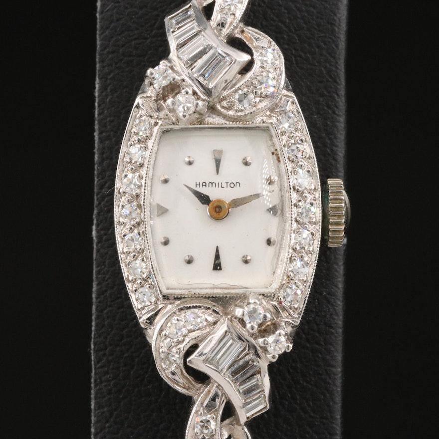 Vintage Hamilton Diamond and 14K White Gold Stem Wind Wristwatch