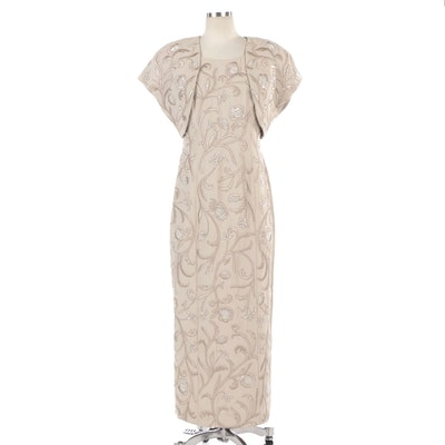 Carmen Marc Valvo Beaded and Floral Embroidered Dress Set in Light Taupe