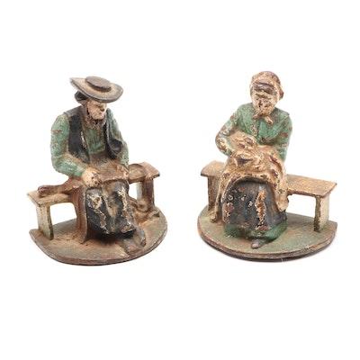 Cast Iron Amish Couple Doorstops