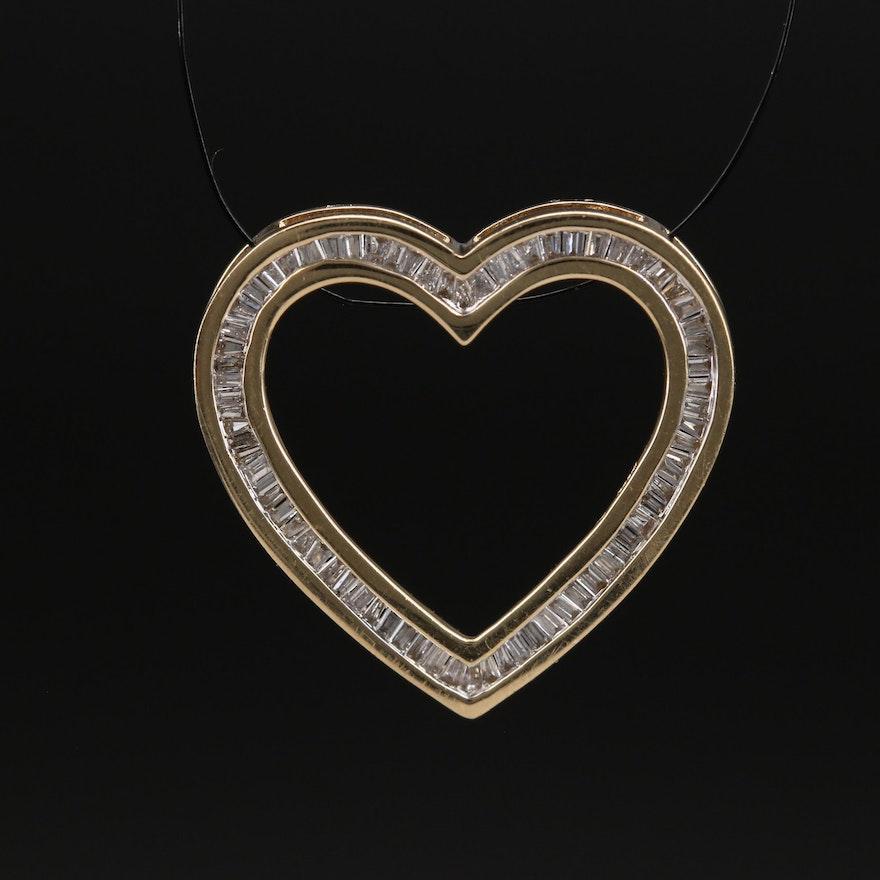 14K Channel Set Diamond Heart Pendant