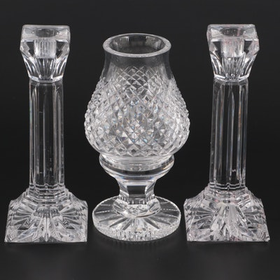 """Waterford """"Column"""" Candlesticks with """"Alana"""" Hurricane Lamp and Globe"""