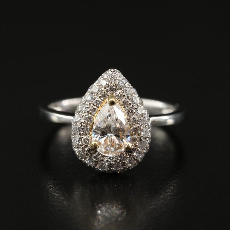 18K 1.18 CTW Pavé Diamond Teardrop Ring
