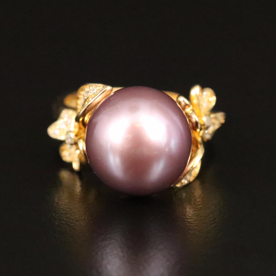 Sterling Pearl and Cubic Zirconia Ring with Floral Shoulders