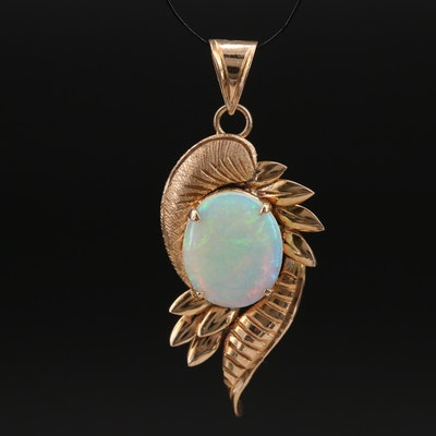 14K Opal Foliate Pendant