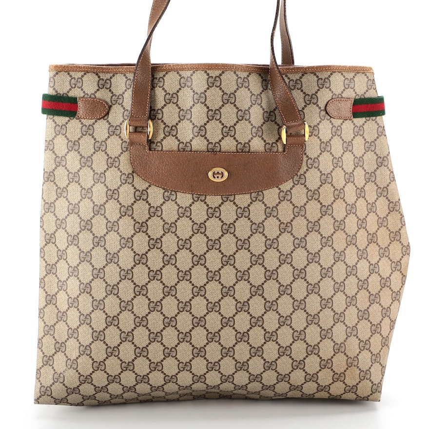 Gucci Accessory Collection Tote in GG Supreme Canvas with Leather and Web Trim