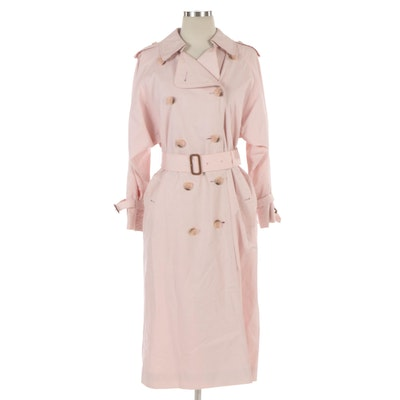 Burberrys Pink Double-Breasted Trench Coat with Belt